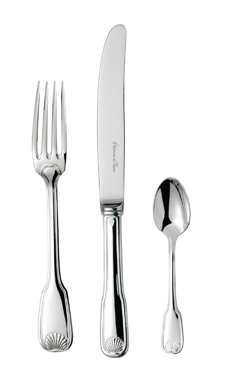 silvered silver flatware Coquille