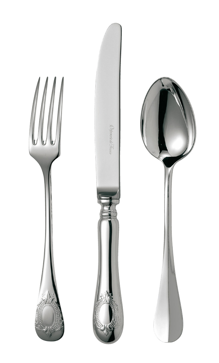 silvered silver flatware Médaillon