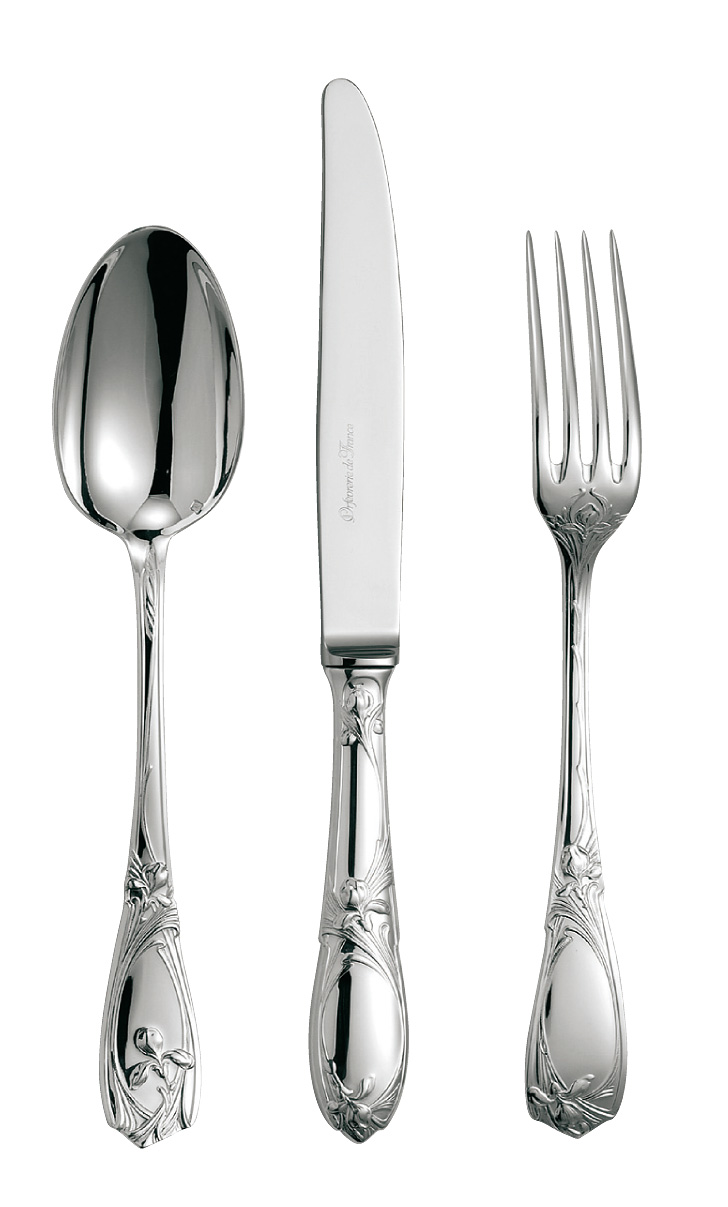 silvered silver flatware Orchidée